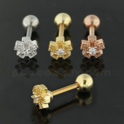 Square Cutout Flower Cartilage Helix Tragus Piercing Ear Stud