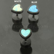 SS Blackline Jeweled Heart Opal Stone Fake Ear Plug