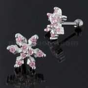 925 Sterling Silver Snowflake Cartilage Tragus Piercing Ear Stud