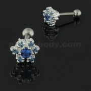 925 Sterling Silver Jeweled Flower Cartilage Tragus Piercing Ear Stud