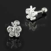 925 Sterling Silver Jeweled Butterfly Cartilage Tragus Piercing Ear Stud